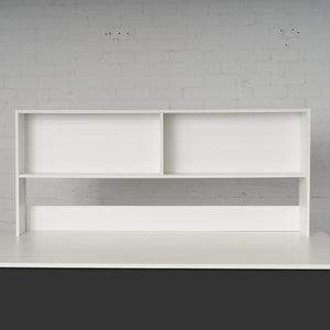 White large bookcase for display storage on loft bed desk study solutions.