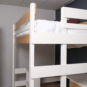 Loft bed end frame with ladder shown in nordic finish white with clear pine