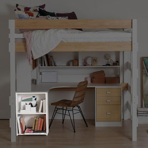 Ped Shelf unit highlighted below corner desk and loft bed