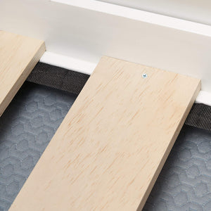 Timber bed slat base fixing close up