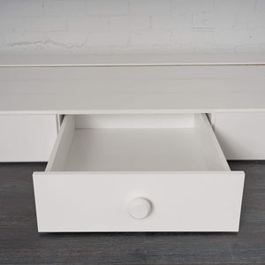 White under bed storage drawers centre drawer out view