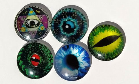 5 pack eyeball cabochons(save-a-bowl)no band included for smoking pipes and Jewlery
