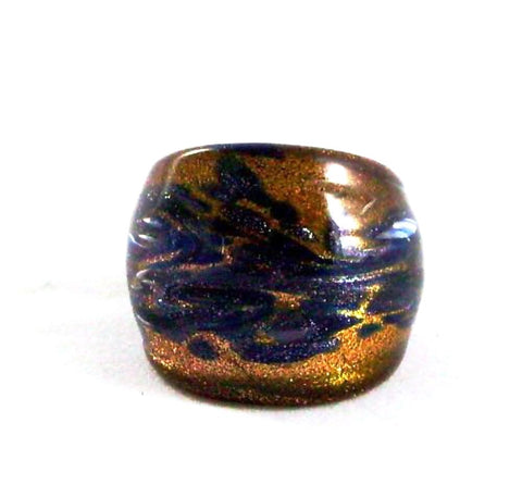 Blue Foil Glass Ring