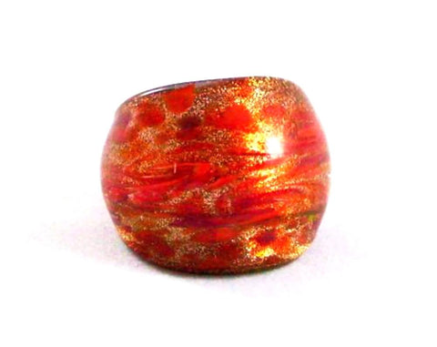Orange Foil Glass Ring