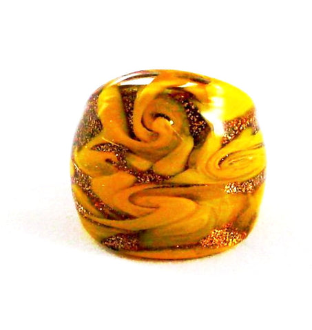 Yellow Foil Glass Ring