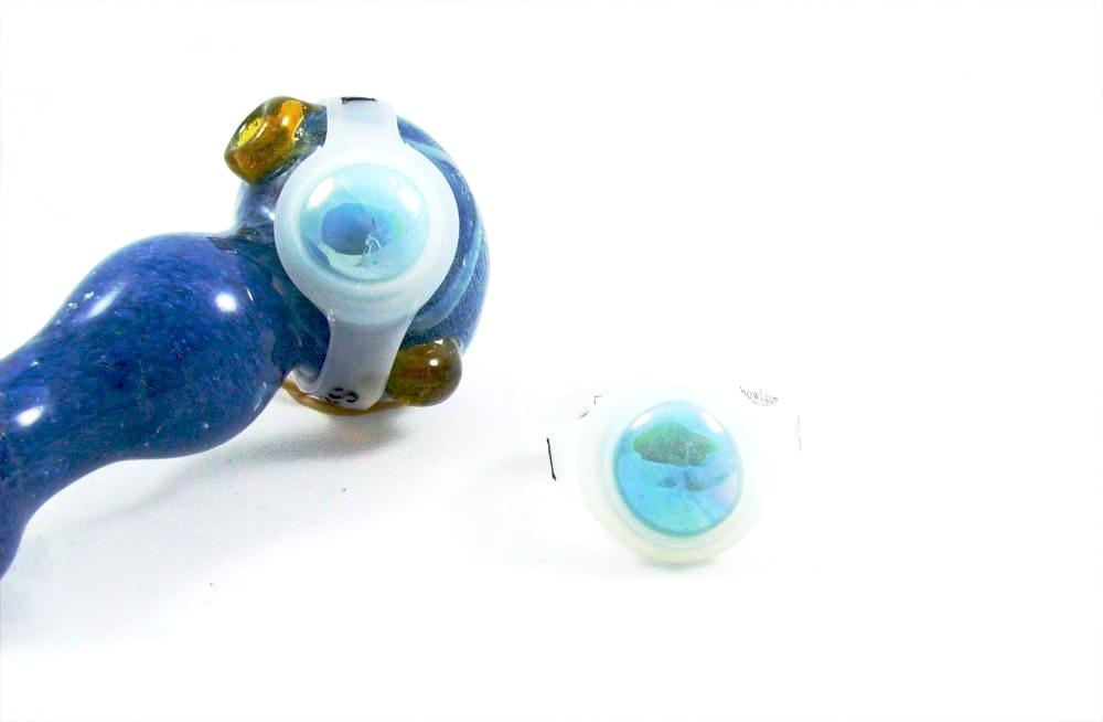Glass Pipe Bowl Saver (save-a-bowl) -light blue glass save-a-bowl