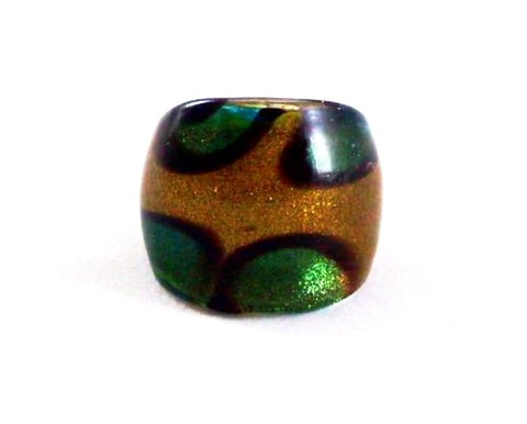 Green Print Foil Glass Ring
