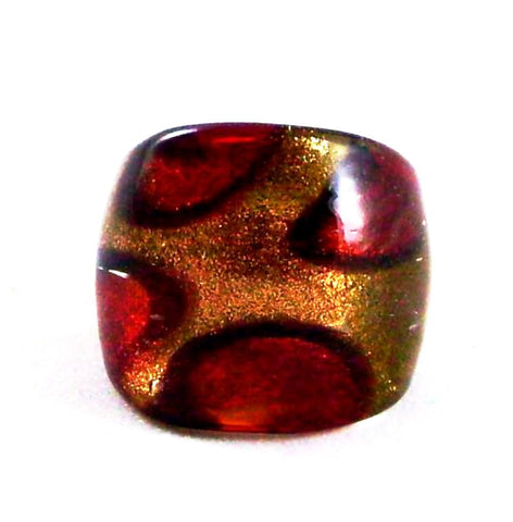 Red Print Foil Glass Ring
