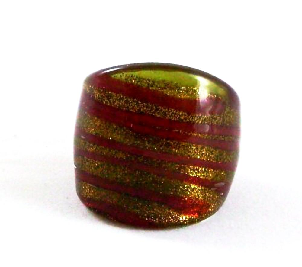 Red Spiral Glass Ring