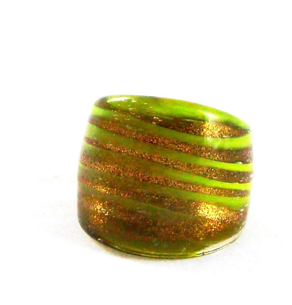 Yellow Spiral Glass Ring