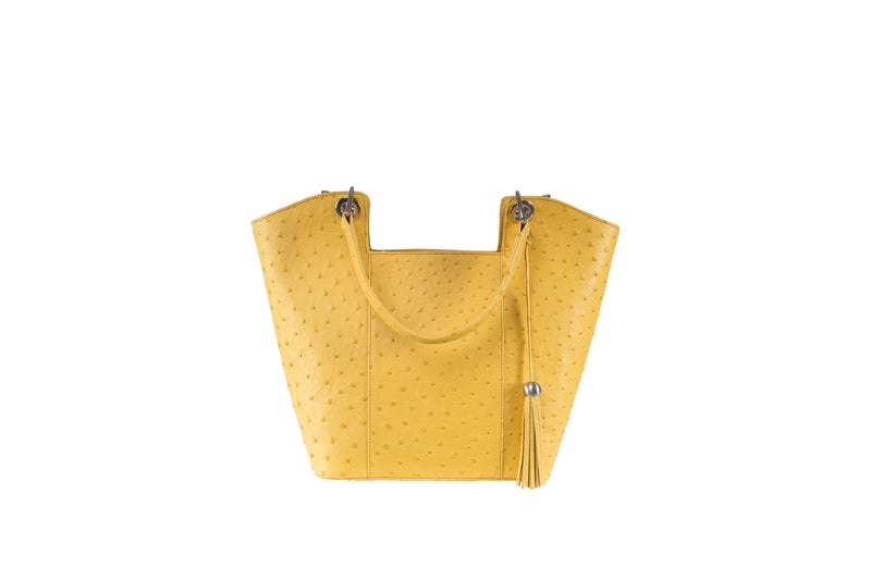 Front view ostrich leather Top zip bag with back zipper pocket. Inside back zipper pocket with two big inside pockets. Two leather handles with decorative nickel hardware and a detachable shoulder strap. Decorative tassel with tassel cap.