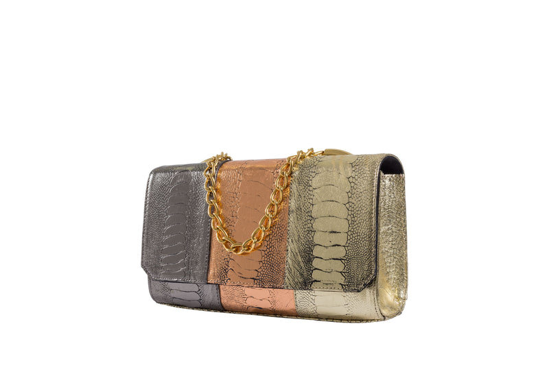 Adele Exclusive Luxury Design Side Front view Belinda multi color foil finish ostrich shin top flap clutch bag with top chain handle and decorative hardware, 24 carat gold plated. Chain and leather detachable shoulder strap. Inside back zipper pocket and front inside patch pocket. High quality suede leather interior and hidden magnetic lock closure.