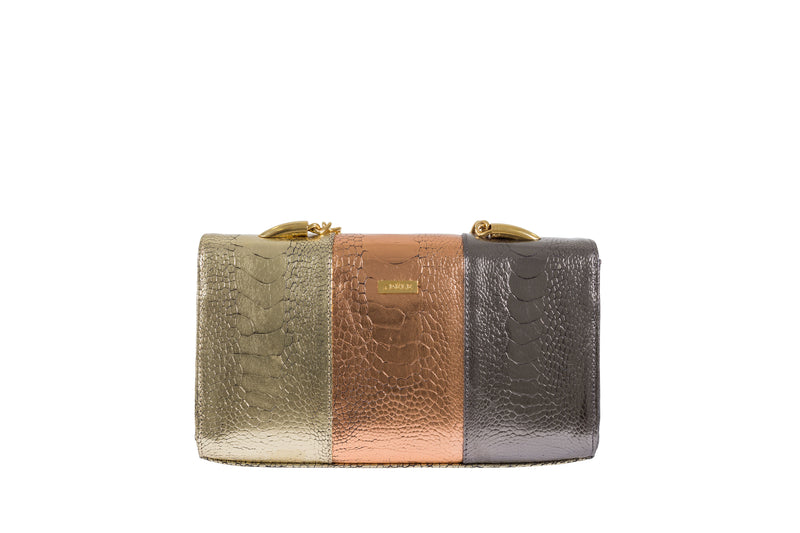 Adele Exclusive Luxury Design Back view Belinda multi color foil finish ostrich shin top flap clutch bag with top chain handle and decorative hardware, 24 carat gold plated. Chain and leather detachable shoulder strap. Inside back zipper pocket and front inside patch pocket. High quality suede leather interior and hidden magnetic lock closure.