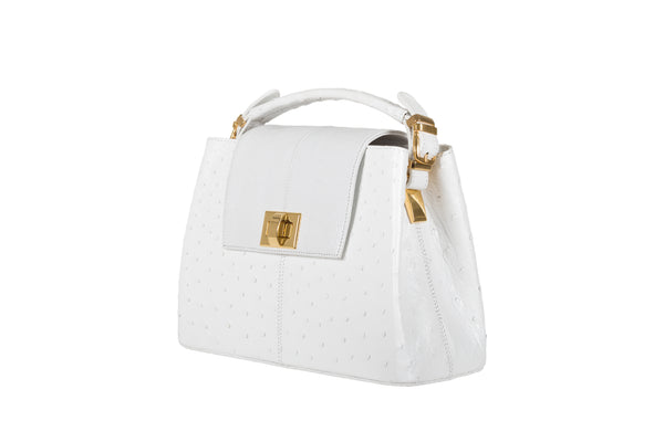 Front side view The Deanna white ostrich leather handbag from the Adele Exclusive Luxury design ostrich leather collection