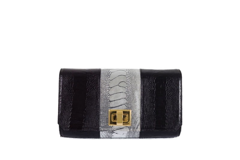 Front View black and sterling foil finish ostrich leather shin top flap clutch bag Bea from Adele Exclusive Luxury Design Handbag Collection