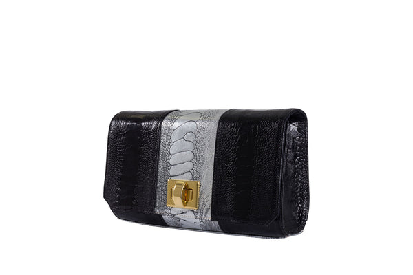 Front Side View black and sterling foil finish ostrich leather shin top flap clutch bag Bea from Adele Exclusive Luxury Design Handbag Collection