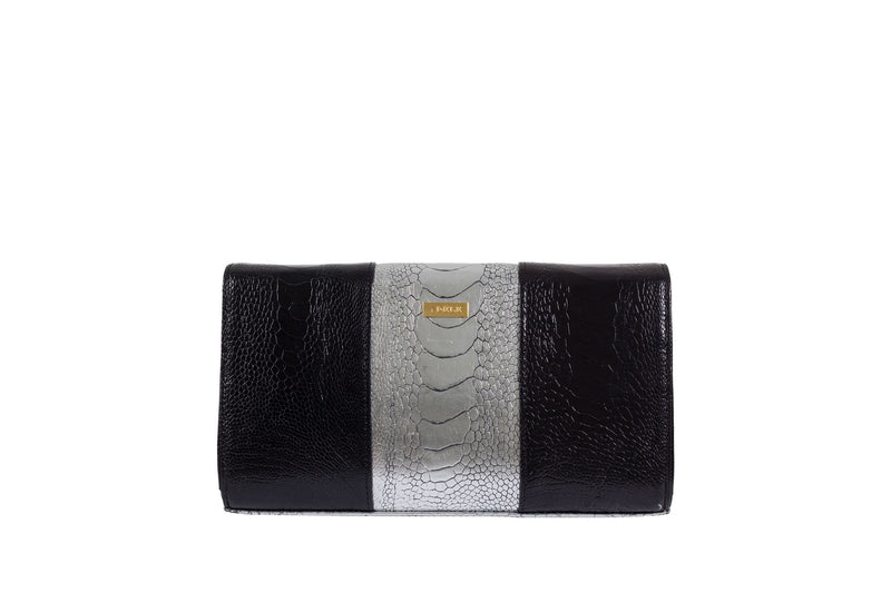 Back View black and sterling foil finish ostrich leather shin top flap clutch bag Bea from Adele Exclusive Luxury Design Handbag Collection