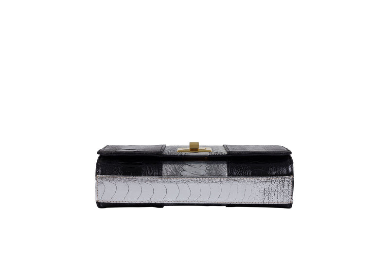 Bottom View black and sterling foil finish ostrich leather shin top flap clutch bag Bea from Adele Exclusive Luxury Design Handbag Collection