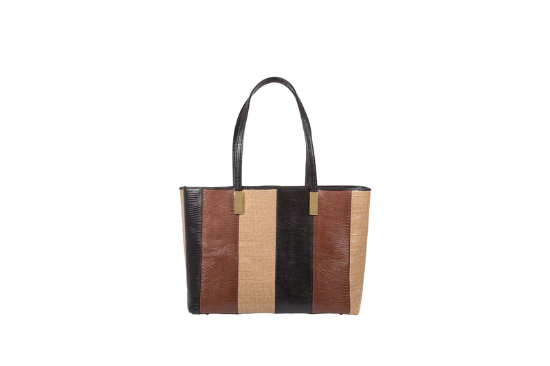 Front view Black, brown and cream embossed leather shopper style handbag from the Adele Exclusive Luxury Design Collection  with two shoulder straps and decorative hardware