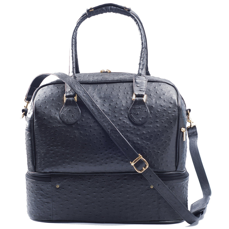 Back view Adele Exclusive Luxury Design Double Decker black embossed ostrich leather bag