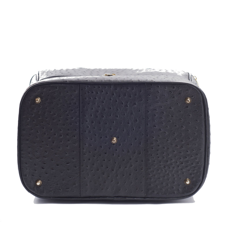 Bottom view Adele Double Decker bag black embossed ostrich leather bag