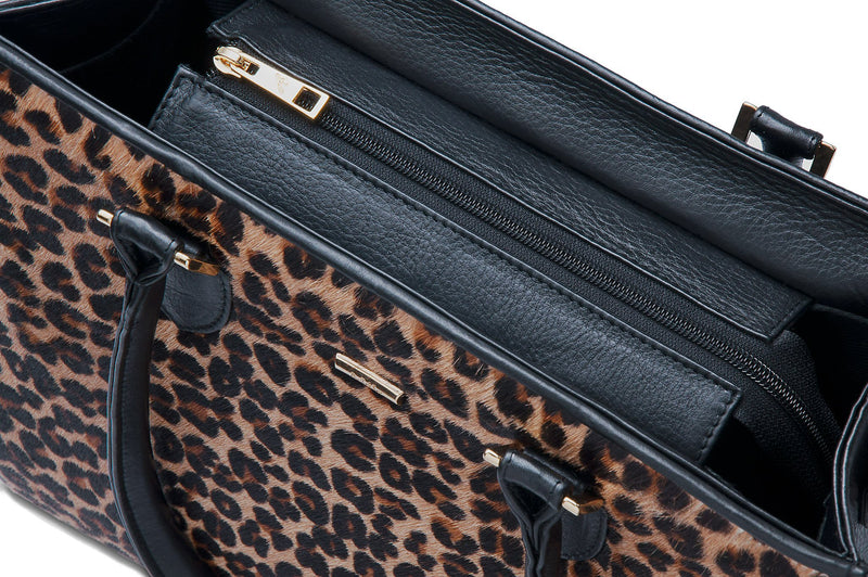 Beverley - Leopard Printed Hair on Hide and Bovine  Leather