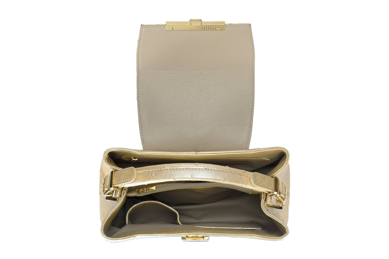 Ostrich leather constructed top flap handbag with an Italian lift lock closure. Inside zipper pocket, leather suede interior. Top handle 24 carat gold plated hardware,detachable shoulder strap with adjustable buckle. Bottom feet studs.