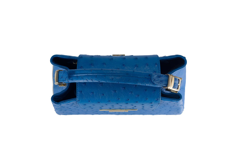 Top view ostrich leather constructed top flap handbag with an Italian lift lock closure. Inside zipper pocket, leather suede interior. Top handle 24 carat gold plated hardware,detachable shoulder strap with adjustable buckle. Bottom feet studs.