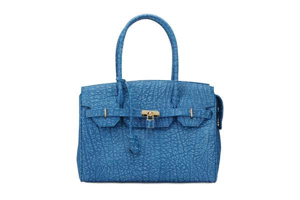 Front view Ripple buffalo blue leather handbag with top zip. The interior contains an inside zip pocket with two internal patch pockets, and is lined with high quality black suede leather. Features a double handle and a gold lock system as decorative hardware. Bag feet studs are located on the bottom panel of the bag.