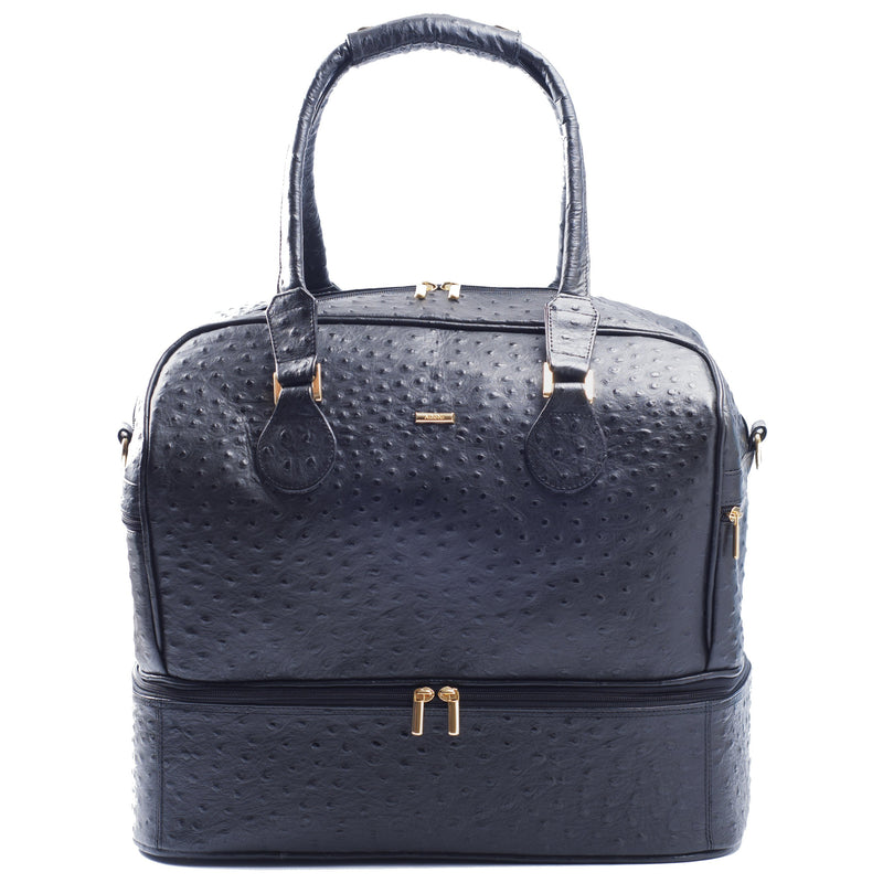 Front view Adele Exclusive Luxury Design Double Decker black embossed ostrich leather bag