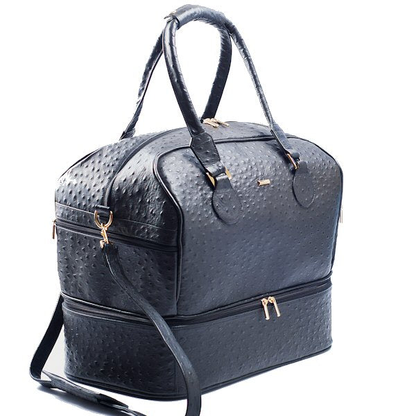 Front side view Adele Exclusive Luxury Design Double Decker black embossed ostrich leather bag