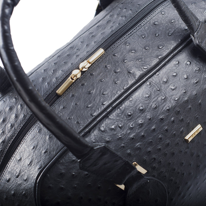 Top view Adele Double Decker bag black embossed ostrich leather bag