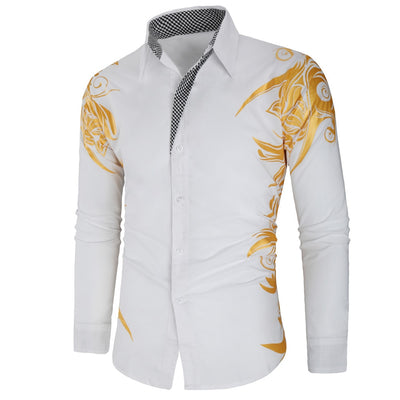 Men Casual Gold Shirt New Arrival Long Sleeve Casual Slim Fit Male Shirts - fashionlavha.com