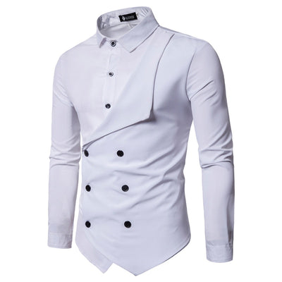 Men's Casual Slim British Long Sleeve Shirt Camisa Masculina - fashionlavha.com