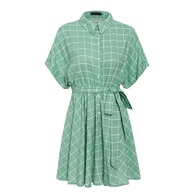 Elegant Plaid Sashes Women Dress Short Sleeve A Line Casual Streetwear