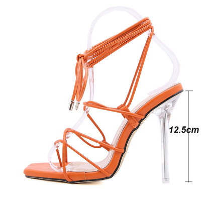 Kcenid Sexy clear crytal heel women  high heels dress party shoes