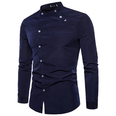Men autumn Pure cotton Stand collar Oblique buttons long sleeve shirts/Man Pure cotton slim Fit Casual shirts - fashionlavha.com