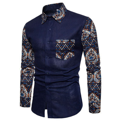 Men Long Sleeve Patchwork Shirts - fashionlavha.com