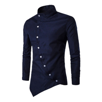 Men Personalized Oblique Button Irregular Casual Shirt 2019 - fashionlavha.com