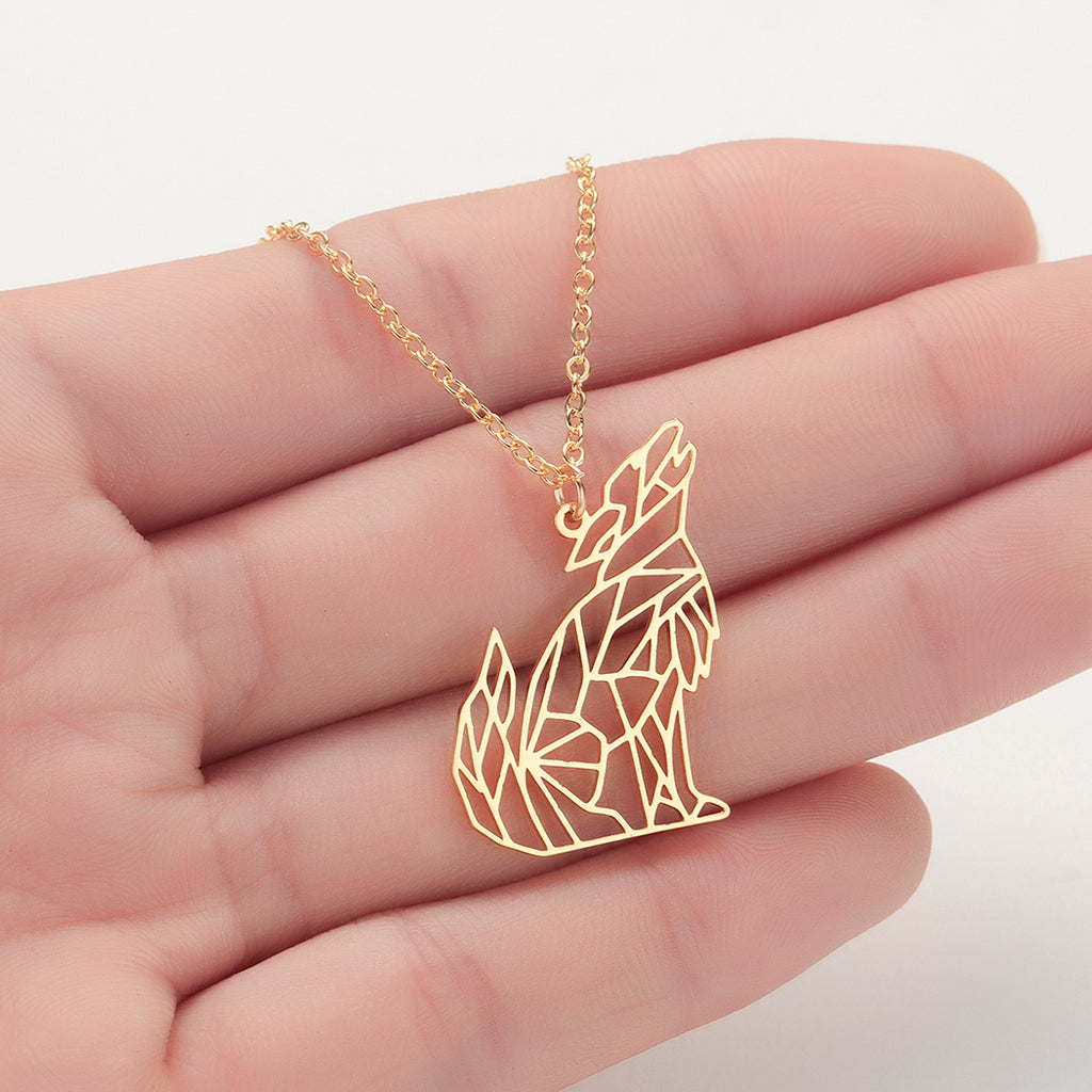Wolf Geometric Necklace