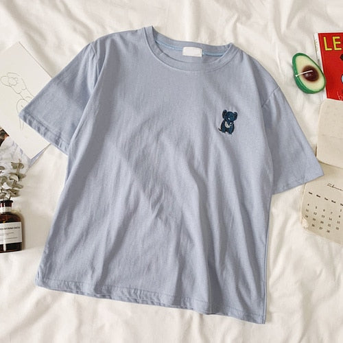 Embroidery Animal T-Shirt Female 100% Cotton