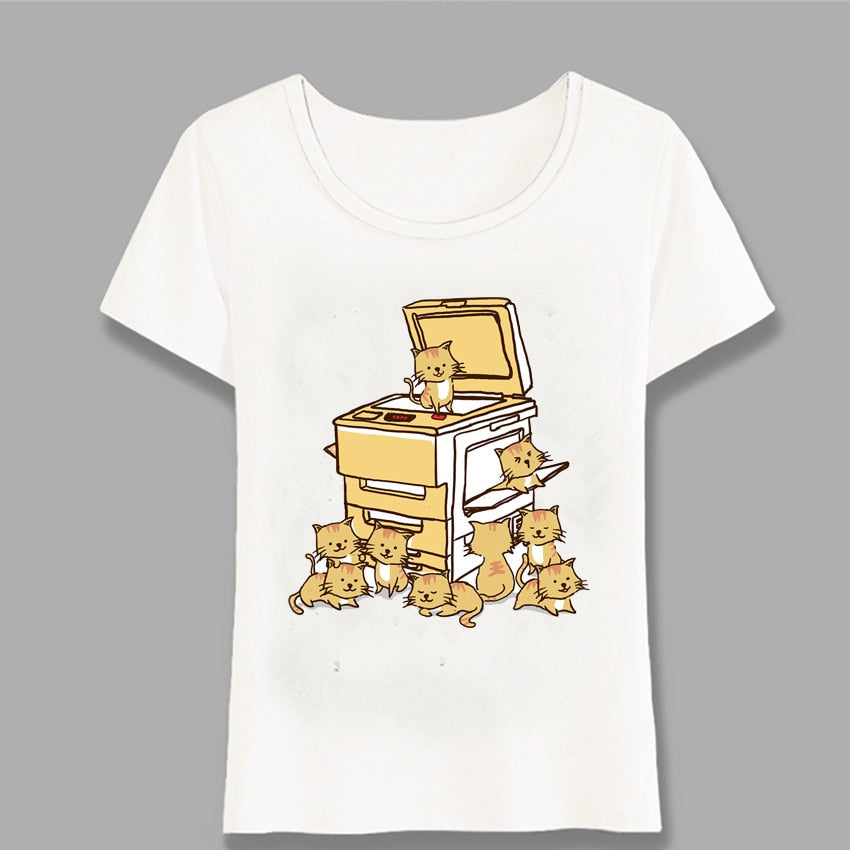 Yellow Cats Printing Women T-Shirt