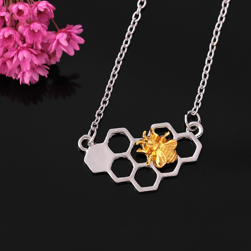Gold and Silver Bee Necklace