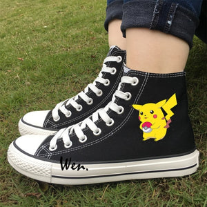 Pikachu White and Black High Tops