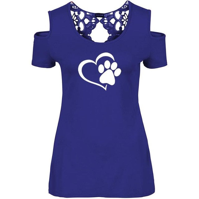 Paw Print Lace T-Shirt For Women