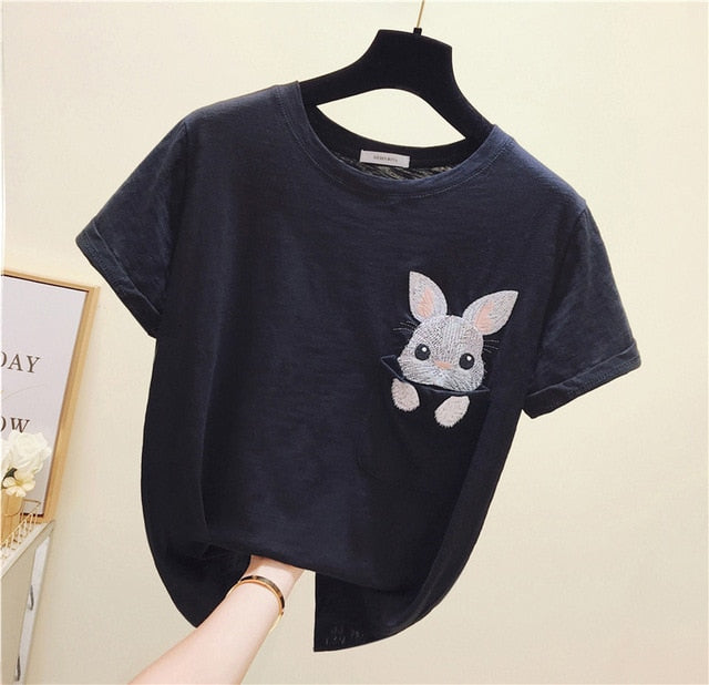 Spring Rabbit Pocket Cartoon Female T-Shirt
