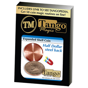Expanded Shell Coin (Half Dollar) (D0007)(Steel Back) by Tango Magic - Trick