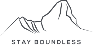Stay Boundless logo - Black line art drawing of mount Ama Dablam with text at the bottom