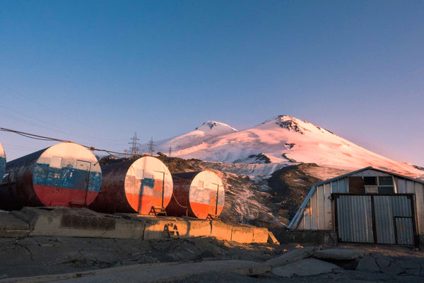 Elbrus behind the barrel huts canvas