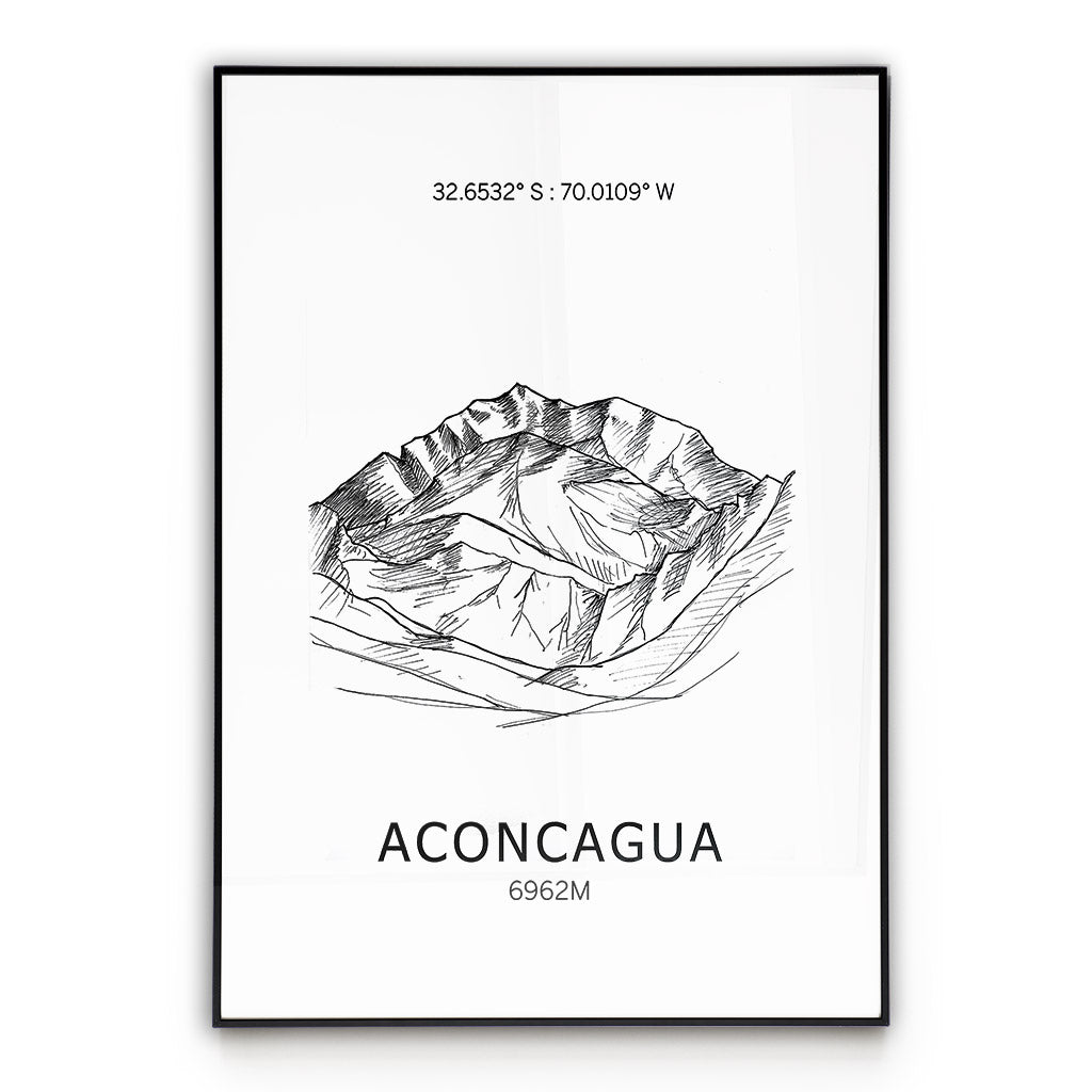 Aconcagua Seven Summits  Mountain Poster Wall Art